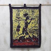 Cotton batik wall hanging, 'Papa Kofi' - Cotton batik wall hanging