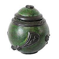 Calabash decorative box, 'Adinkra, Gye Nyame' - Calabash decorative box