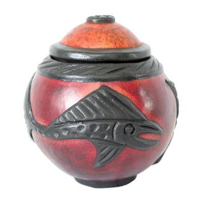 Calabash decorative box, 'Swordfish' - Calabash decorative box