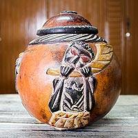 Calabash decorative box, 'Cultural Melodies' - Handmade Wood Decorative Box
