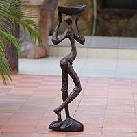 Wood sculpture, 'Akan Farmer' - Wood sculpture