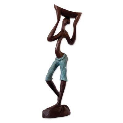 Wood sculpture, 'Akan Farm Man' - Wood sculpture