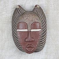 Ghanaian wood mask, 'Good African Mother' - African wood mask