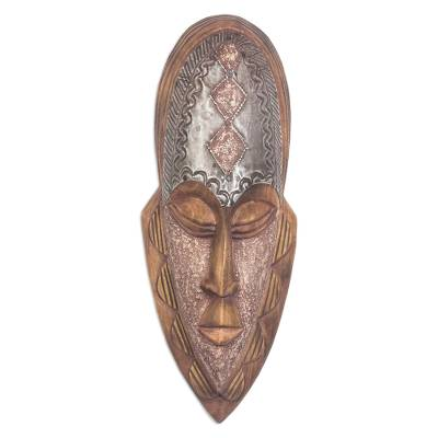 Ghanaian wood mask, 'Successor' - Hand Made African Wood Mask