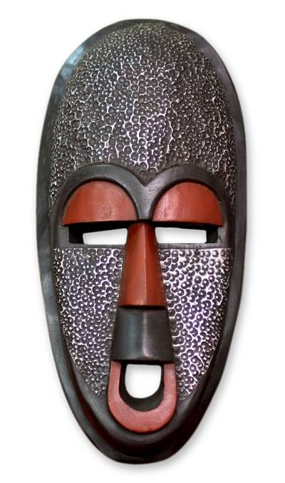 Ghanaian wood mask, 'Detector of Evil' - African Wood Wall Mask