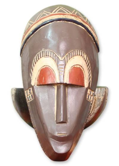Ghanaian wood mask, 'Young But Wise' - Hand Carved African Wood Mask
