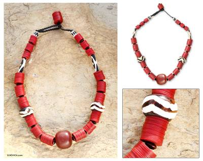 Bone and resin beaded necklace, 'Nhyira' - Bone and Resin Beaded Necklace
