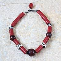 Bone and resin beaded necklace, 'Nhyira Nsuo' - Bone and resin beaded necklace