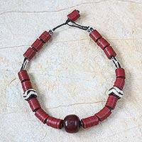 Bone and resin beaded necklace, 'Nhyira Pa' - Bone and resin beaded necklace