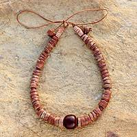 Bauxite and resin beaded necklace, 'Fertile Ground' - Bauxite and Resin Beaded Necklace