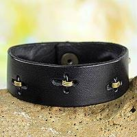 Men's leather wristband bracelet, 'Hide and Seek in Black' - Men's Unique Leather Wristband Bracelet