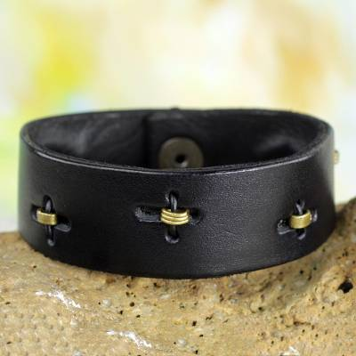 Men's leather wristband bracelet, 'Hide and Seek in Black' - Men's Unique Leather Wristband Bracelet