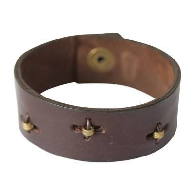 Men's leather wristband bracelet, 'Hide and Seek in Brown' - Men's Leather Wristband Bracelet