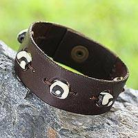 Men's leather wristband bracelet, 'No Secrets in Brown' - Men's leather wristband bracelet