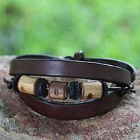Men's leather wristband bracelet, 'Double Up' - Men's Leather and Bamboo Wristband Bracelet