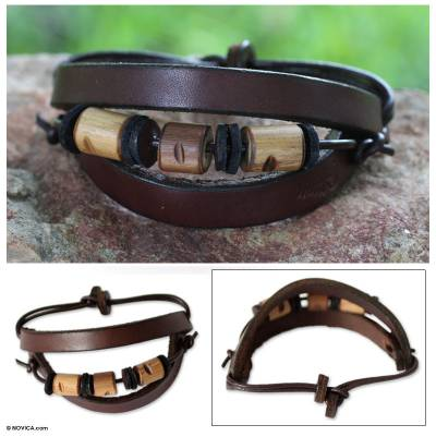 Men's leather wristband bracelet, 'Double Up' - Men's Handcrafted Leather and Bamboo Wristband Bracelet