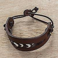 Men's leather wristband bracelet, 'Double or Quits' - Men's Leather Wristband Bracelet