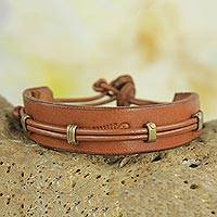 Men's leather wristband bracelet, 'Stand Alone in Tan' - Men's Leather and Brass Wristband