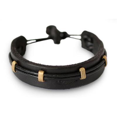 Men's leather wristband bracelet, 'Stand Alone in Black' - Men's Leather Wristband Bracelet