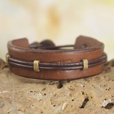 Men's leather wristband bracelet, 'Stand Alone in Brown' - Men's Handcrafted Leather Wristband Bracelet