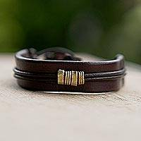 Men's leather wristband bracelet, 'Stand Together in Brown' - Fair Trade Men's Leather Wristband from Ghana