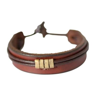 Men's leather wristband bracelet, 'Stand Together in Brown' - Men's Unique Leather Wristband Bracelet