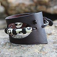 Men's leather and bone bracelet, 'Cut and Run' - Men's Leather and Bone Cuff Bracelet