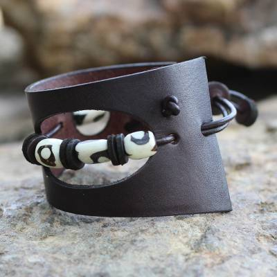 Men's leather and bone bracelet, 'Cut and Run' - Men's African Leather and Bone Wristband Bracelet