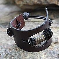 Men's leather and horn wristband bracelet, 'Cut Away in Brown' - Men's Leather and Horn Cuff Bracelet
