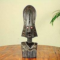 African wood mask, 'Proud Fulani' - Fulani Style Hand Crafted African Wood Mask