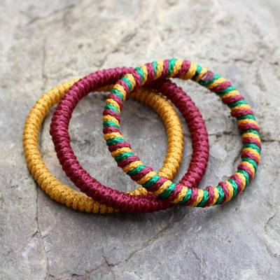 Bangle bracelets, 'Joy' (set of 3) - Hand Made Bangle Bracelets from Africa (Set of 3)