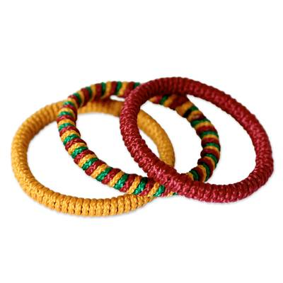Bangle bracelets, 'Joy' (set of 3) - Hand Made Bangle Bracelets from Africa (Set of 3)