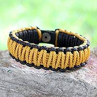 Men's wristband bracelet, 'Amina in Golden Black'