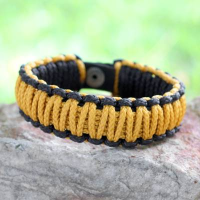 Men's wristband bracelet, 'Amina in Golden Black' - Men's Braided Cord Bracelet