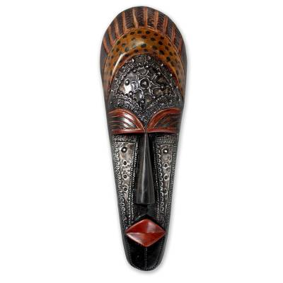 Ivoirian wood mask, 'Queen Aura Poka' - Hand Carved Ivoirian Wood Mask