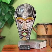 African wood mask, 'Abstract Kifwebe' - Hand Carved African Wood Mask on Stand