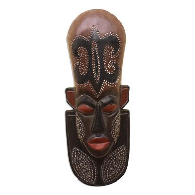 Nigerian wood mask, 'A Great King' - Nigerian Wood Wall Mask