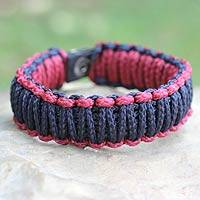 Men's wristband bracelet, 'Amina in Navy Wine' - Men's Handcrafted Cord Bracelet