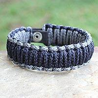 Wristband bracelet, 'Amina in Navy Gray' - Men's Wristband Bracelet from Africa