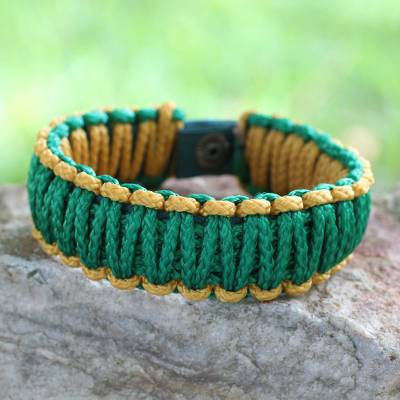Men's wristband bracelet, 'Amina in Golden Green' - Men's Handmade Wristband Bracelet