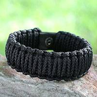 Men's wristband bracelet, 'Amina in Navy Blue' - Men's Braided Cord Wristband Bracelet