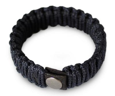 Men's wristband bracelet, 'Amina in Navy Blue' - Men's Braided Cord Wristband Bracelet