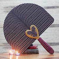 Cotton fan, 'Kwele' - Fair Trade Kwele Love Mask Fan from Ghana