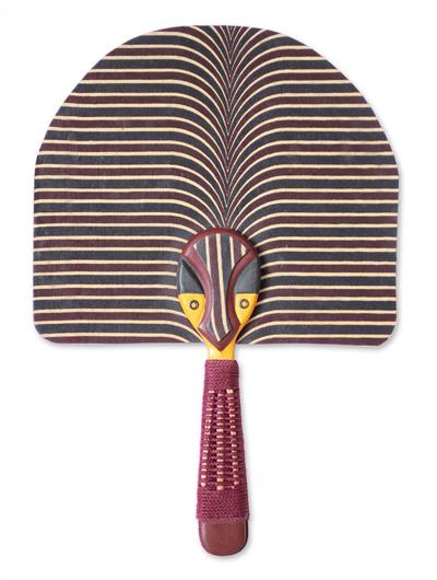 Cotton fan, 'Ashanti Royal Mask' - Unique Cultural Cotton Fan