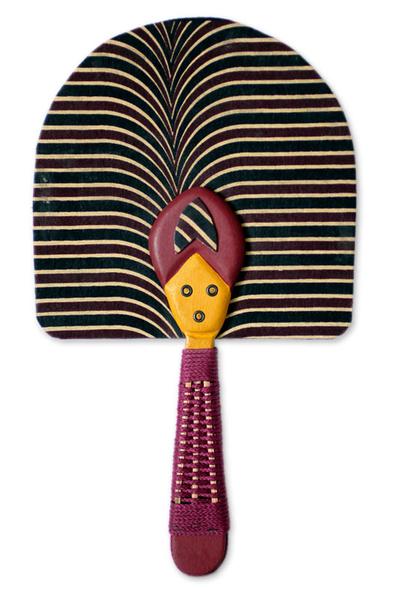 Cotton fan, 'Obaasima' - Patterned Cotton Fan