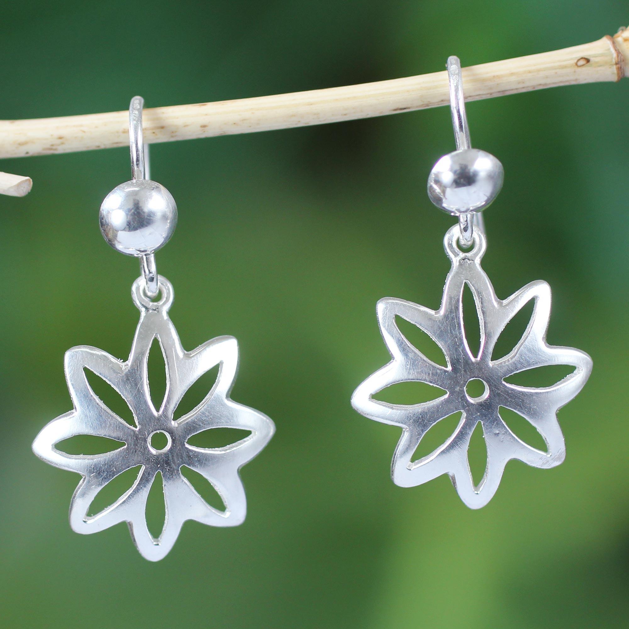 Sterling Silver Dangle Earrings, 'Stars of Hope'