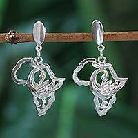 Sterling silver dangle earrings, 'Back to Africa' - Sterling silver dangle earrings