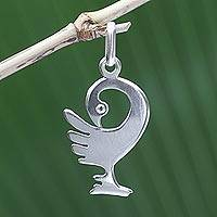 Sterling silver pendant, 'Back to My Roots' - Handmade Sterling Silver Bird Pendant