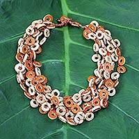 Featured review for Dried calabash multi-strand necklace, Tropical Fun