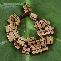 Bamboo bracelet, 'Sophisticated Earth' - Bamboo bracelet